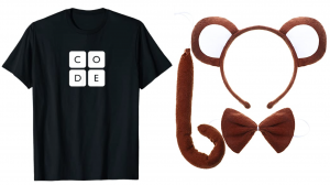 "a t-shirt that says ""code"" and a set of monkey ears headband, tail, and bowtie"