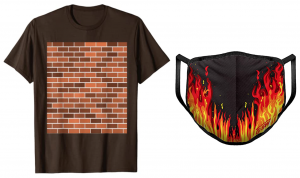 a brown t-shirt with a brick wall graphic and a black face mask with a flame graphic