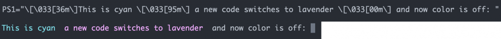 two lines of text, the top showing the bash profile code and the bottom showing the colorized bash prompt