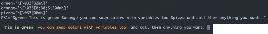 another screenshot showing color codes as bash variables with the corresponding prompt output