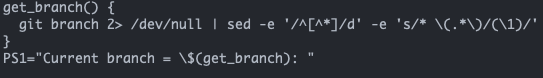 screenshot showing the bash profile with the code we just wrote